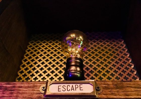 Detail of Wall of Lights in The Edison Escape Room